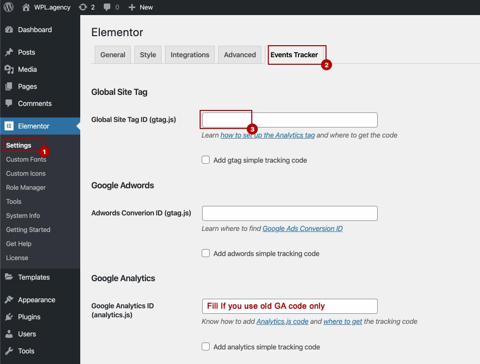 Events Tracker for Elementor basic setup